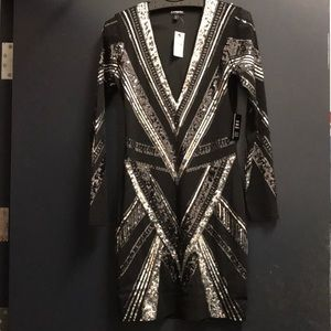 NWT 🖤 Express Black and Silver Sequin Dress 🖤